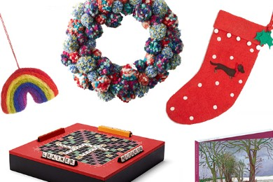 Banner image including festive wreath, christmas decorations, games and cards