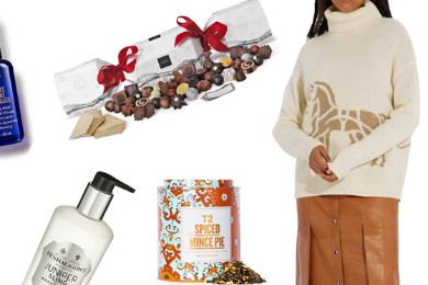 Collage of gifts within guide placed on white background