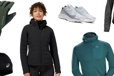 collage of activewear clothing and accessories