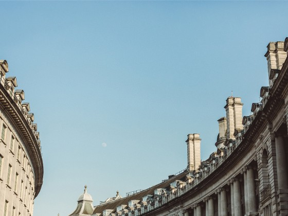 Regent Street architecture with blue sky