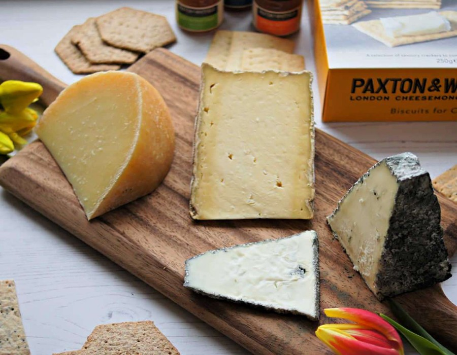 Paxton & Whitfield Artisan British Cheeses on wooden board